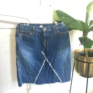 Vintage Abercrombie & Fitch raw edge denim skirt